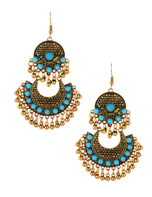Fashion Blue Bells Decorated Moon Shape Earrings