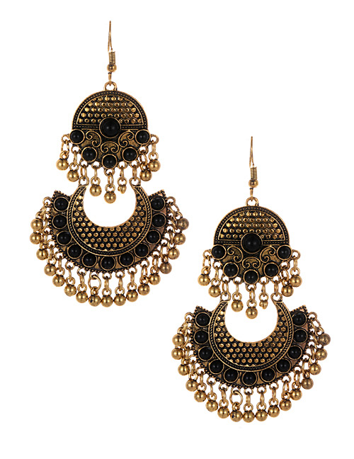 Fashion Black Bells Decorated Moon Shape Earrings