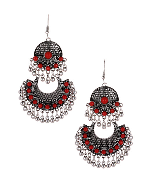 Fashion Red Bells Decorated Moon Shape Earrings