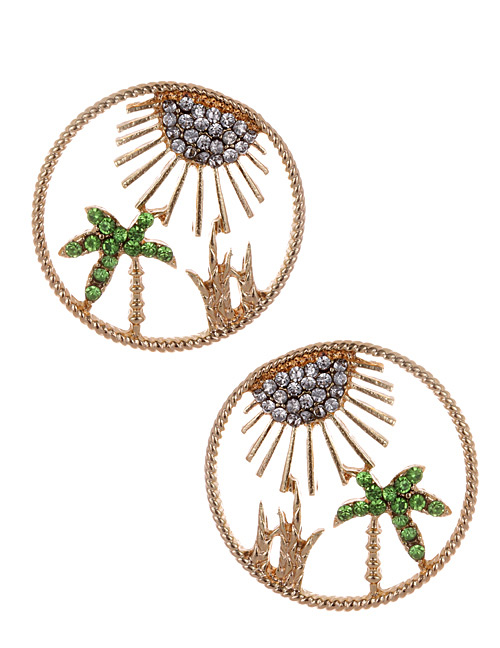 Fashion Gold Color Circular Ring Design Hollow Out Earrings
