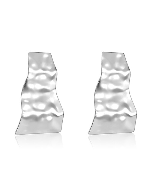Elegant Silver Color Wave Shape Design Pure Color Earrings