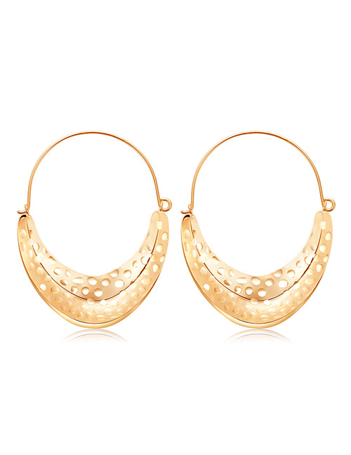 Elegant Gold Color U Shape Design Pure Color Earrings