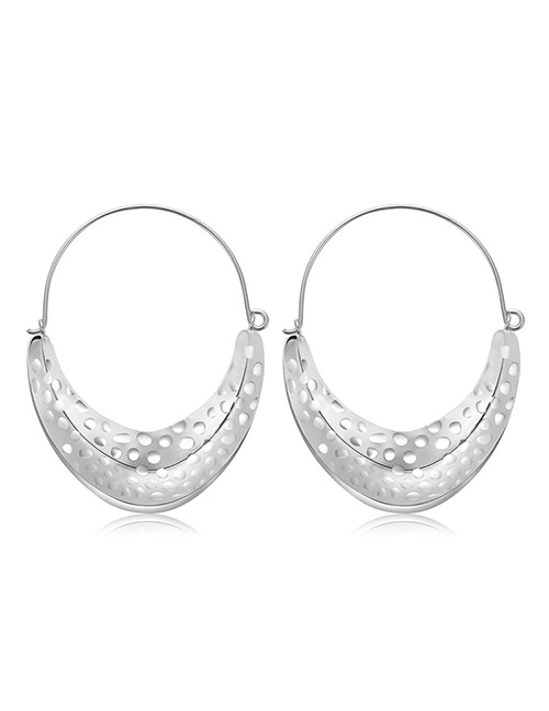 Elegant Silver Color U Shape Design Pure Color Earrings