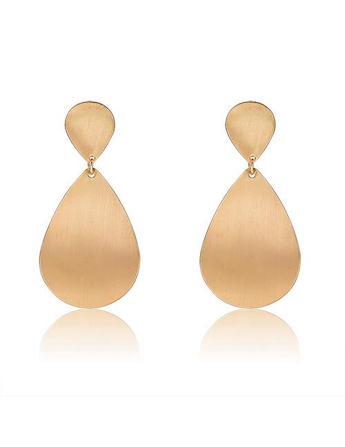 Elegant Gold Color Waterdrop Shape Design Pure Color Earrings
