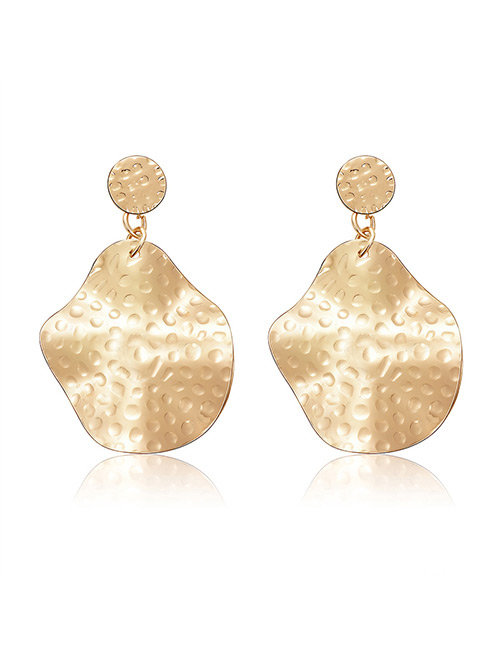 Elegant Gold Color Pure Color Design Irregular Shape Earrings