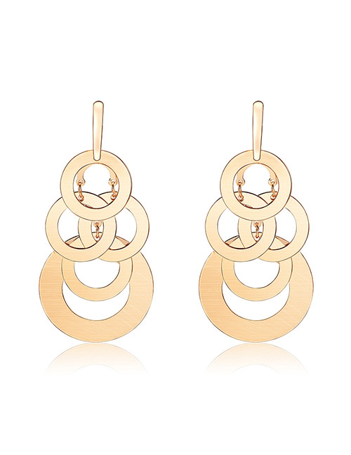 Elegant Gold Color Round Shape Design Pure Color Earrings