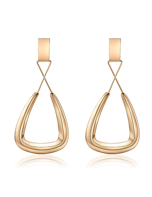 Elegant Gold Color Hollow Out Design Pure Color Earrings