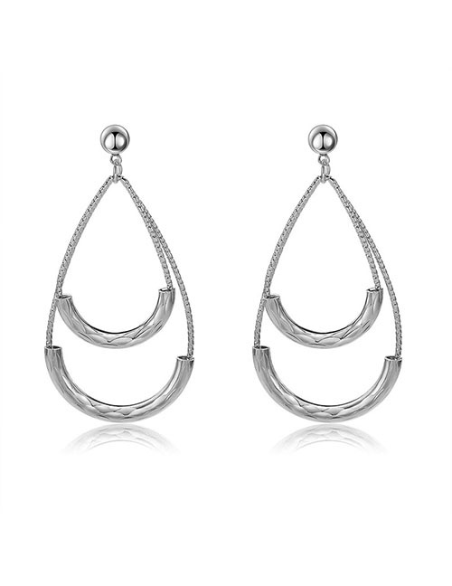 Elegant Silver Color Double U Shape Design Pure Color Earrings