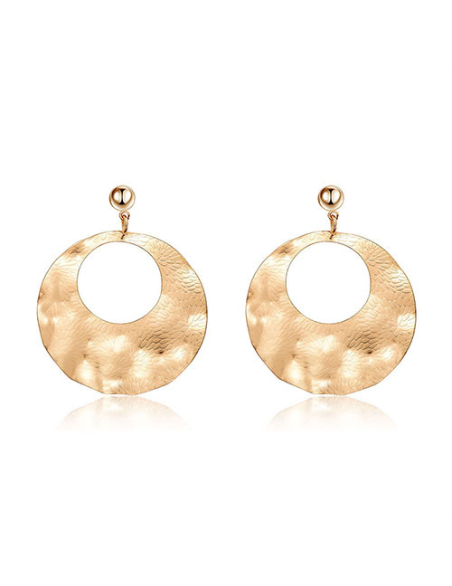 Elegant Gold Color Round Shape Design Hollow Out Earrings