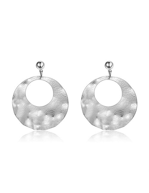 Elegant Silver Color Round Shape Design Hollow Out Earrings