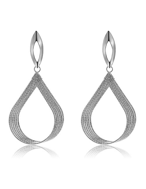Elegant Silver Color Hollow Out Design Pure Color Earrings
