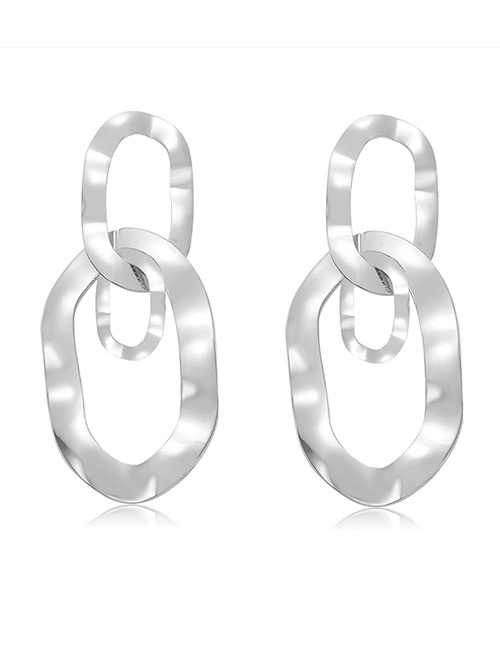 Elegant Silver Color Irregular Shape Design Hollow Out Earrings