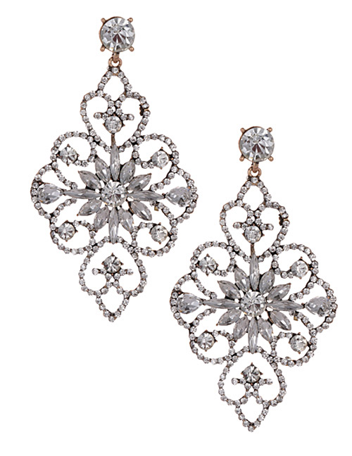 Fashion White Hollow Out Design Flower Shape Earrings