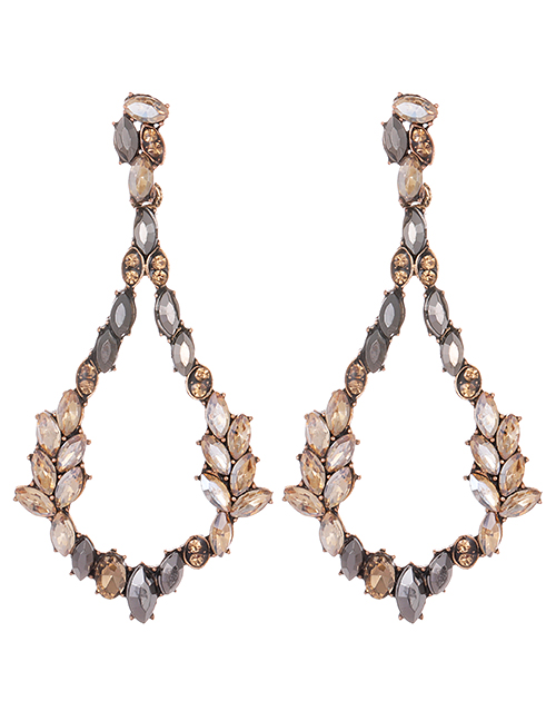 Fashion Gold Color Waterdrop Shape Decorated Earrings