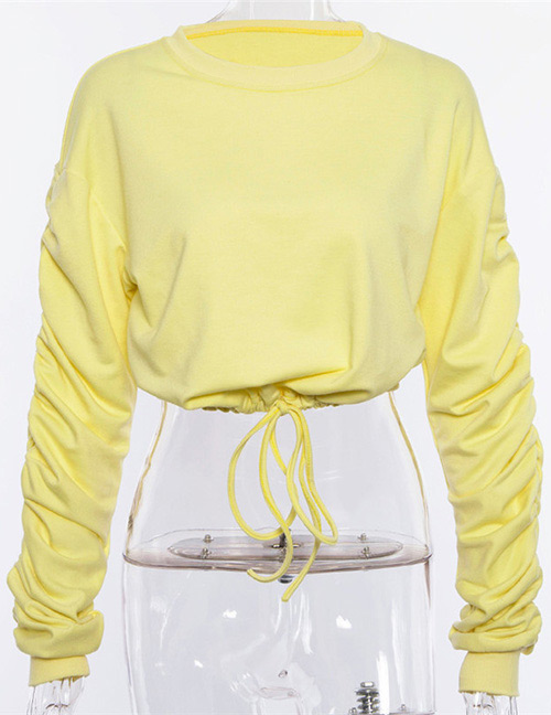 Fashion Yellow Round Neckline Design Pure Color Sweater