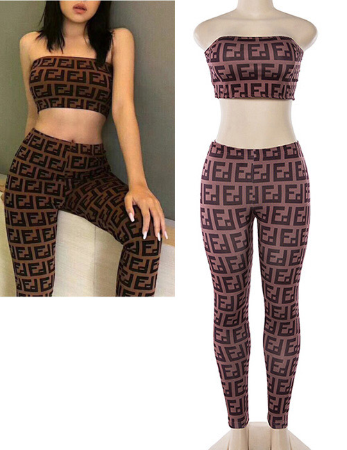 Fashion Coffee Geometric Shape Pattern Decorated Suits