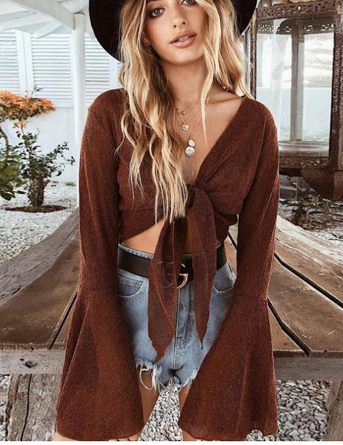 Fashion Brown Pure Color Design Long Sleeves Shirt