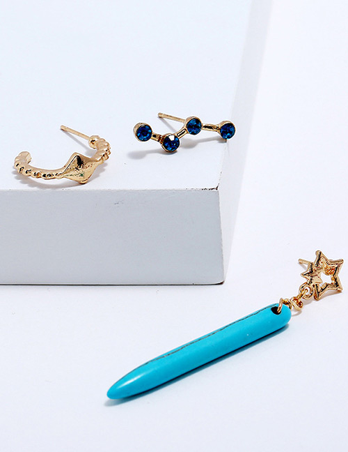 Fahion Gold Color Star Shape Decorated Earrings