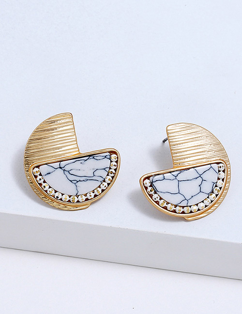 Fahion Gold Color Sector Shape Decorated Earrings