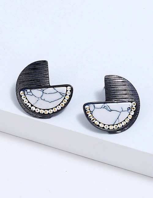 Fahion Black Sector Shape Decorated Earrings