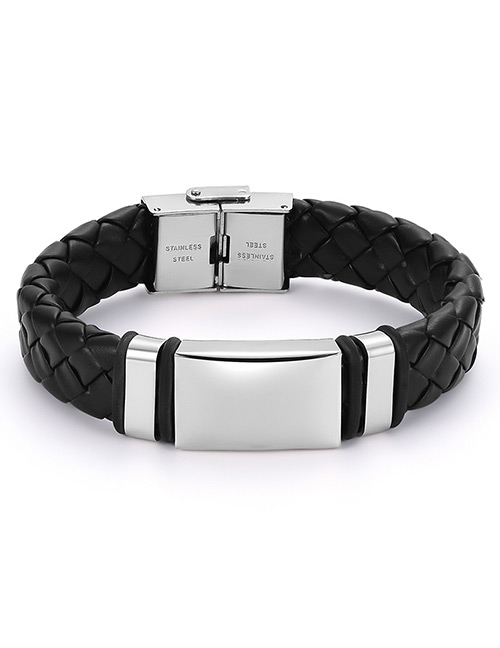 Fashion Black+silver Color Grids Pattern Decorated Bracelet