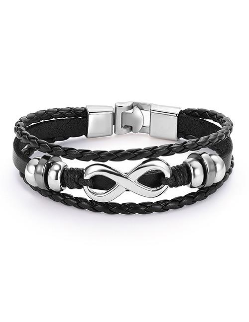 Fashion Black+silver Color Multi-layer Design Bracelet