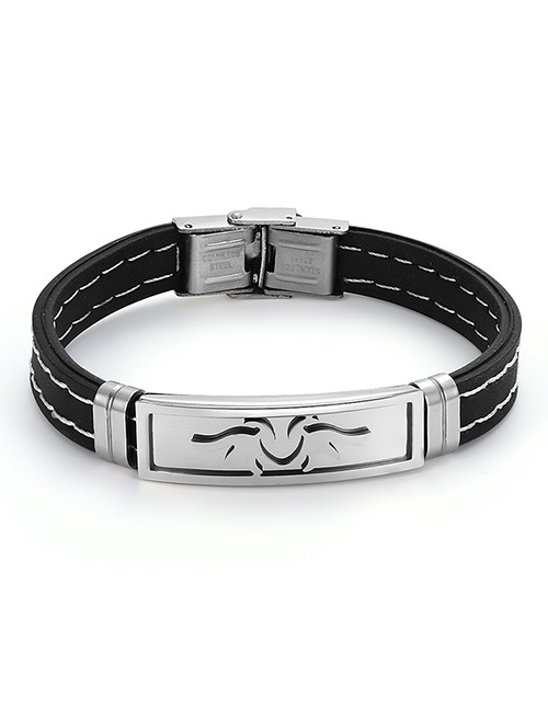Fashion Black+silver Color Wing Shape Decorated Bracelet