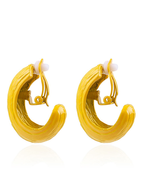 Fashion Yellow Pure Color Decorated Earrings