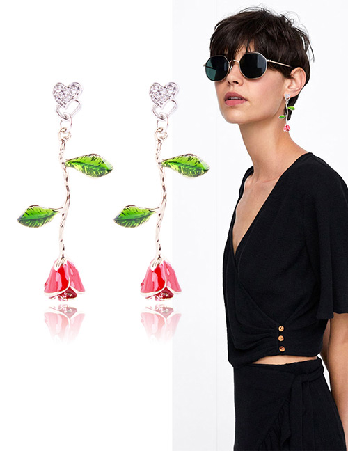 Fashion Red+green Rose Shape Decorated Earrings