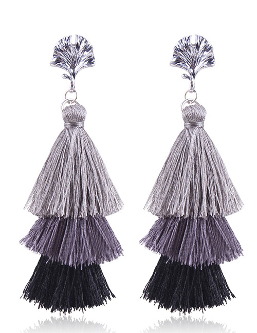 Fashion Gray+black Tassel Decorated Earrings