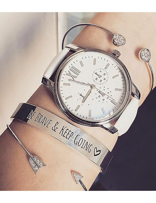 Fashion Silver Color Letter Pattern Decorated Bracelets(3pcs)