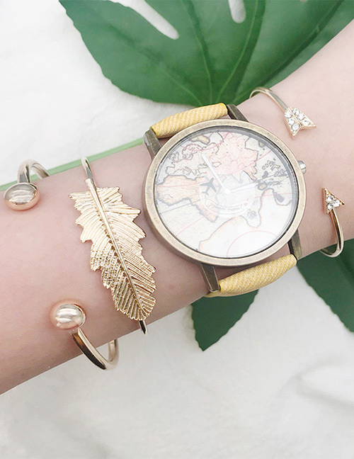 Fashion Gold Color Leaf Shape Decorated Bracelet(3pcs)