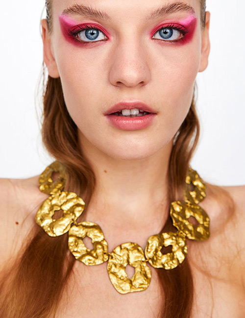 Fashion Gold Color Irregular Shape Decorated Pure Color Necklace
