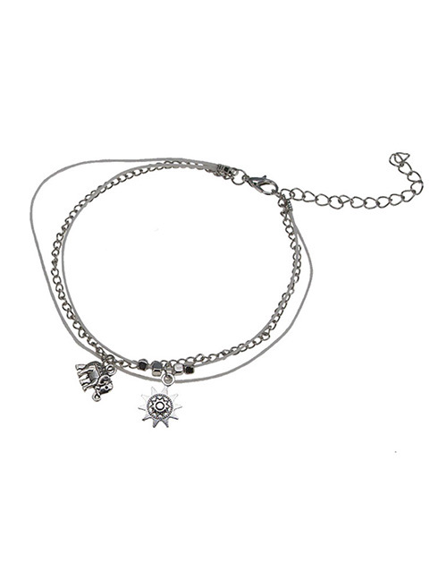 Fashion Silver Color Elephant Shape Decorated Ankle Chain(2pcs)