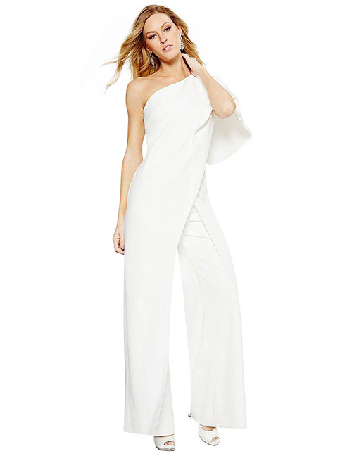 Fashion White Pure Color Decorated Jumpsuit