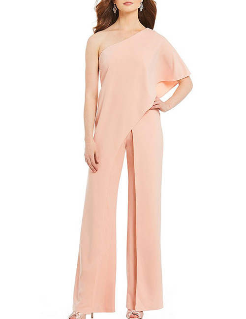 Fashion Pink Pure Color Decorated Jumpsuit