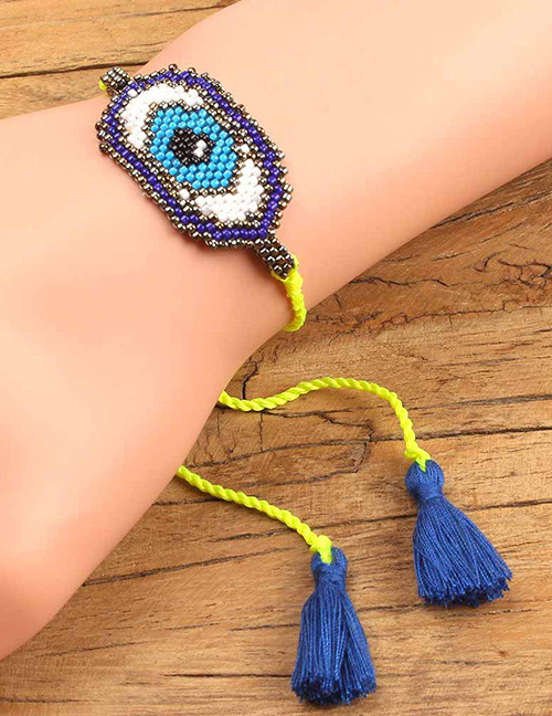 Fashion Blue Eye Shape Decorated Tassel Bracelet