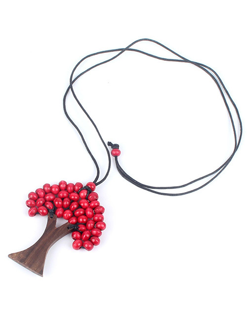 Fashion Red Tree Shape Decorated Necklace