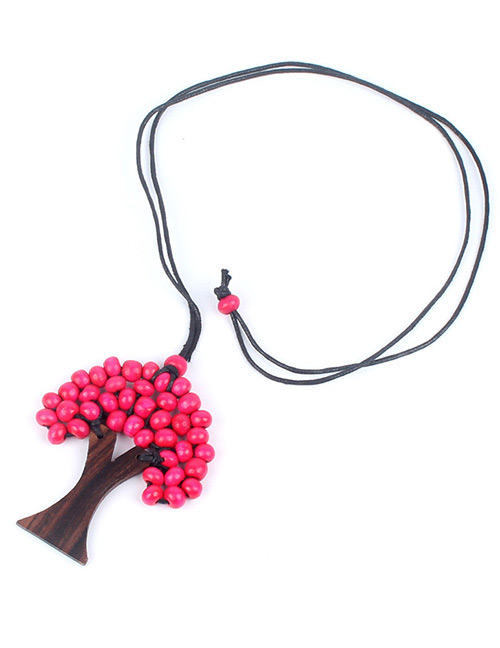 Fashion Plum Red Tree Shape Decorated Necklace