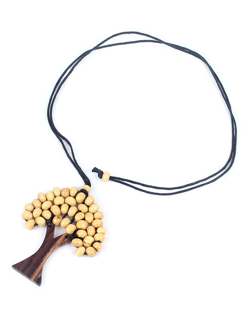 Fashion Beige Tree Shape Decorated Necklace