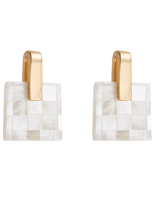 Fashion Gold Color+white Grids Pattern Decorated Earrings