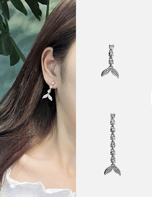 Fashion Silver Color Dolphin Tail Shape Design Earrings