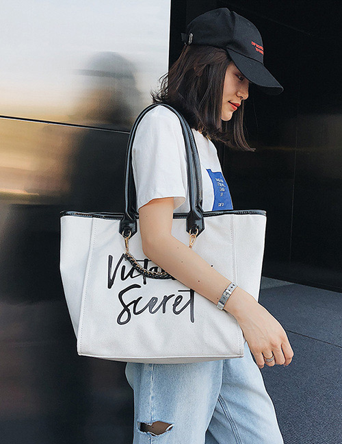 Fashion White+black Letter Pattern Decorated Shoulder Bag