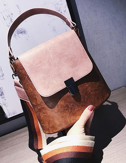 Fashion Brown Color Matching Decorated Shoulder Bag