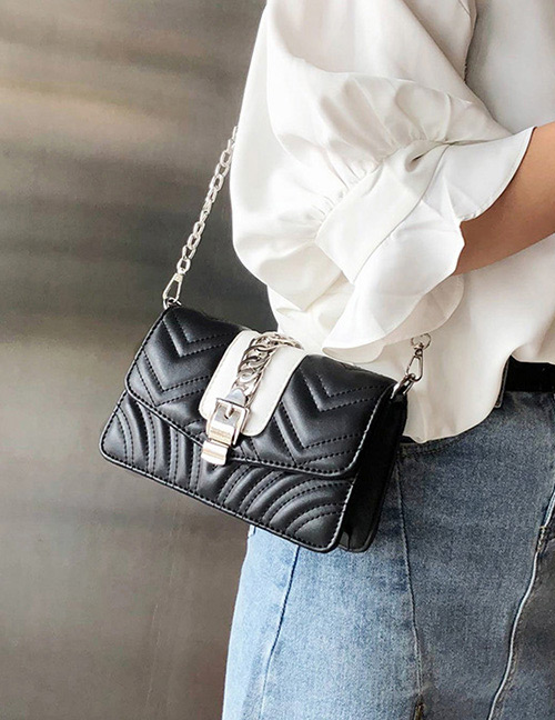 Fashion Black Buckle Shape Decorated Shoulder Bag