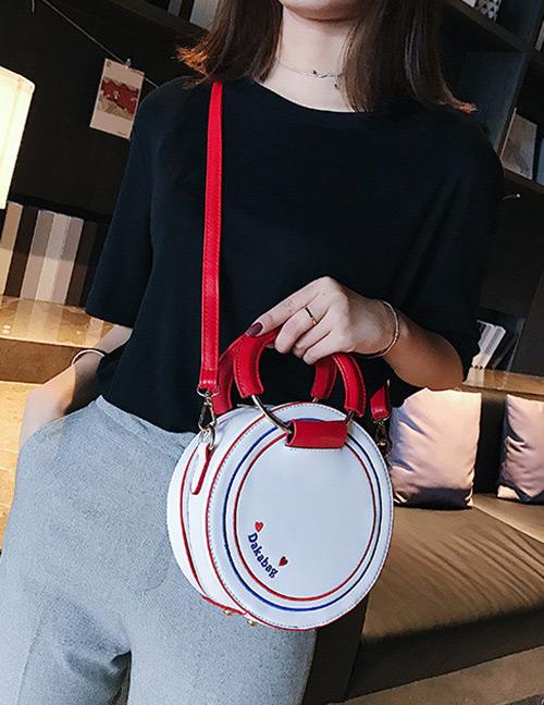 Fashion White Round Shape Decorated Shoulder Bag
