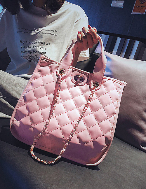 Fashion Pink Pure Color Decorated Handbag