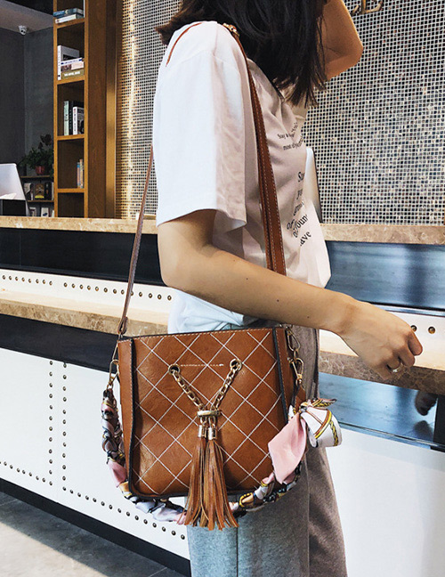 Simple Brown Tassel Decorated Shoulder Bag