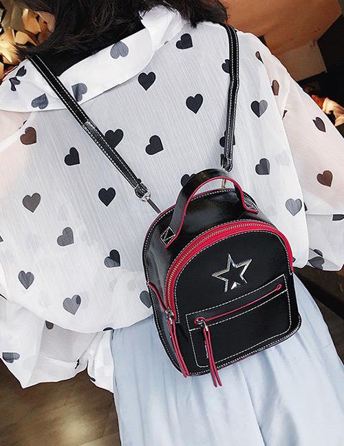 Fashion Black Zipper Decorated Backpack