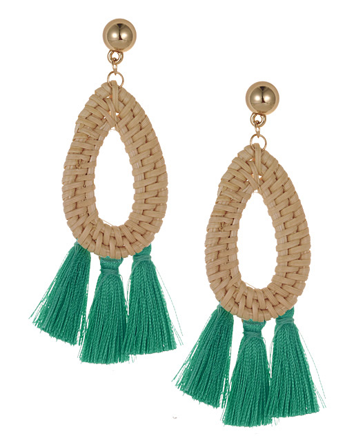Fashion Green Waterdrop Shape Decorated Tassel Earrings